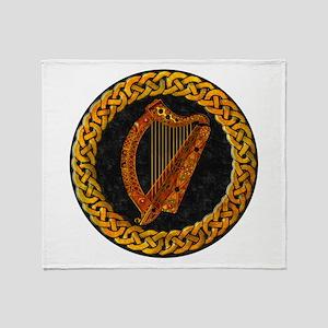 Celtic Irish Harp Throw Blanket