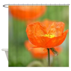 Orange poppy shower curtains cafepress mightylinksfo