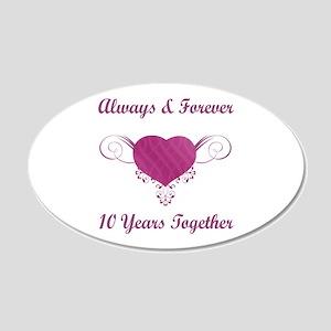 10th Anniversary Heart 22x14 Oval Wall Peel