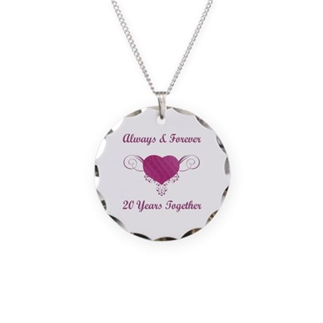 20th Anniversary Heart Necklace Circle Charm