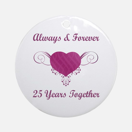 25th Anniversary Heart Ornament (Round)