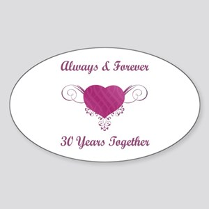30th Anniversary Heart Sticker (Oval)