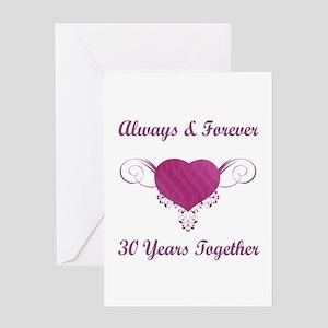 30th Anniversary Heart Greeting Card