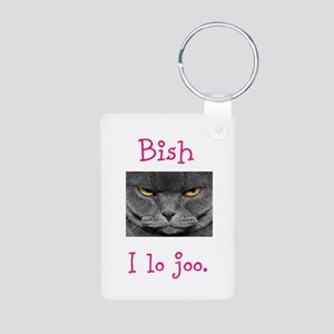 Lo Joo Disapproving Cat Aluminum Photo Keychain