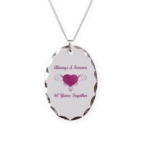 60th Anniversary Heart Necklace Oval Charm
