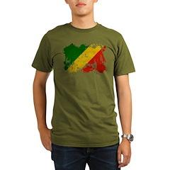 Congo Republic Flag Organic Men's T-Shirt (dark)