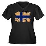 Finland Flag Women's Plus Size V-Neck Dark T-Shirt