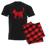 Red Cat Icon Men's Dark Pajamas