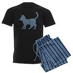 Blue Cat Icon Men's Dark Pajamas