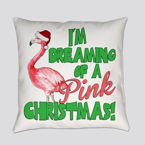 Pink Christmas Everyday Pillow