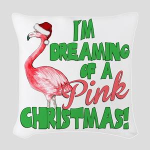 Pink Christmas Woven Throw Pillow