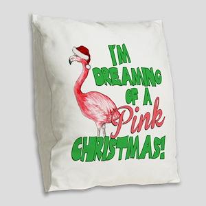 Pink Christmas Burlap Throw Pillow