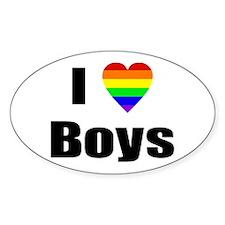 I Love Boys Sticker (Oval)