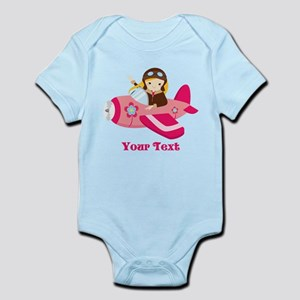 Pink Airplane, Girl Pilot with flowers Body Suit