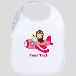 Pink Airplane, Girl Pilot with flowers Baby Bib