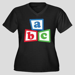 ABC Blocks Women's Plus Size V-Neck Dark T-Shirt
