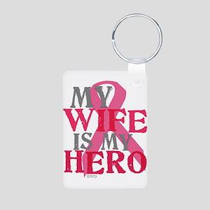 My wife is my hero Aluminum Photo Keychain