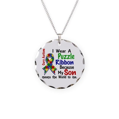 Means World To Me 4 Autism Necklace Circle Charm