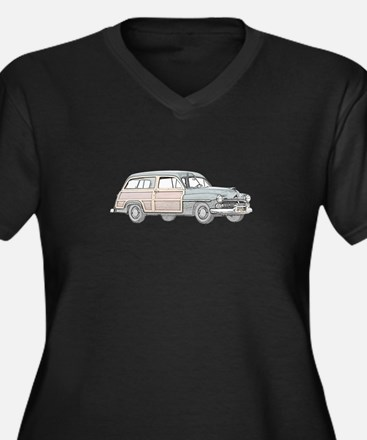 1950 Mercury Woodie Women's Plus Size V-Neck Dark