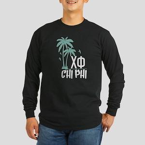 Chi Phi Palm Trees Long Sleeve Dark T-Shirt