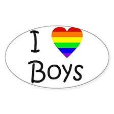 I Love Boys (script) Sticker (Oval)