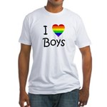 I Love Boys (script) Fitted T-Shirt