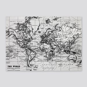 World Map (1899) White & Black 5'x7'Area Rug