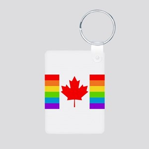 Canadian Gay Pride Flag Aluminum Photo Keychain