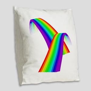 LGBTQ Pride Rainbow Bridge Burlap Throw Pillow
