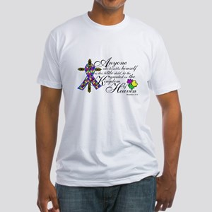 Autism ribbon with Cross Fitted T-Shirt