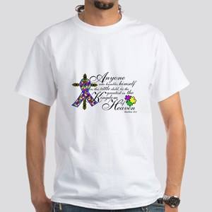 Customized Autism ribbon with Cross White T-Shirt