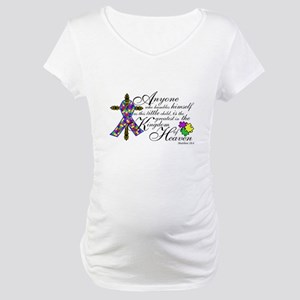Autism ribbon with Cross Maternity T-Shirt