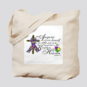 Autism ribbon with Cross Tote Bag