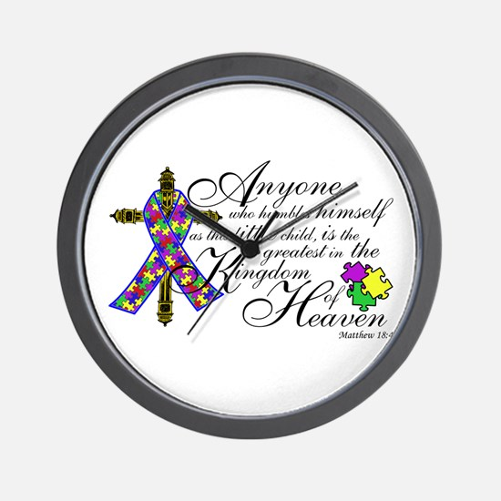 Autism ribbon with Cross Wall Clock