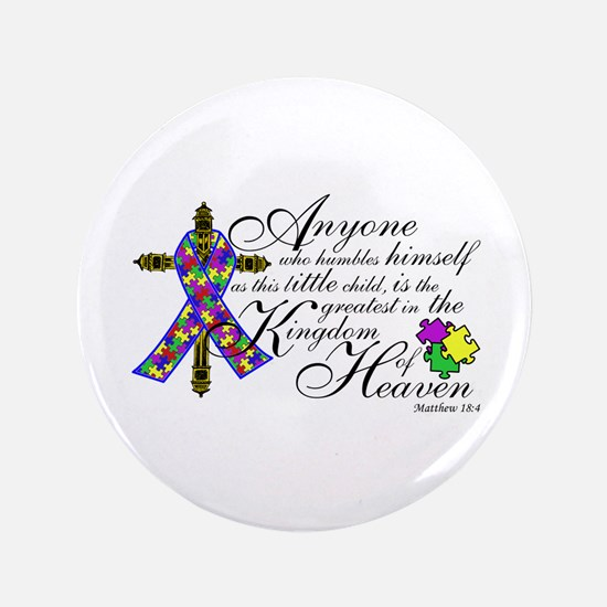 """Autism ribbon with Cross 3.5"""" Button"""