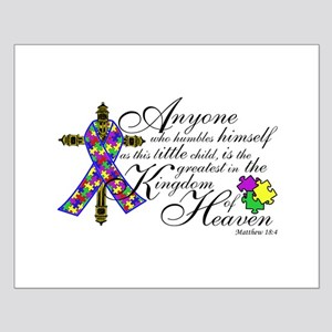Autism ribbon with Cross Small Poster