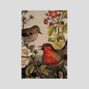 Vintage Robin Birds Rectangle Magnet