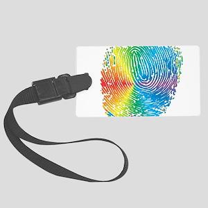 LGBT pride rainbow fingerprint Large Luggage Tag