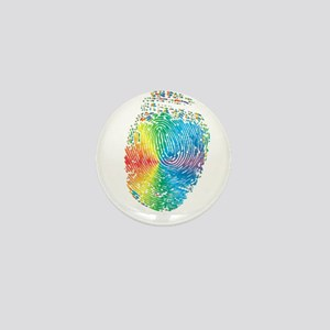 LGBT pride rainbow fingerprint Mini Button