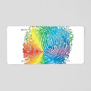 LGBT pride rainbow fingerpr Aluminum License Plate
