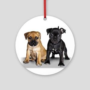 Staffie puppies Ornament (Round)