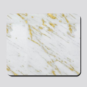 White and gold marble texture Mousepad