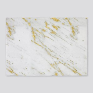 White and gold marble texture 5'x7'Area Rug