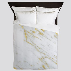White and gold marble texture Queen Duvet