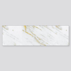 White and gold marble texture Bumper Sticker