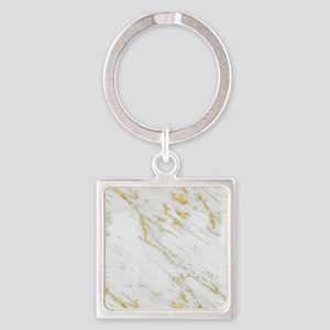 White and gold marble texture Keychains