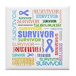 Survivor - Stomach Cancer Tile Coaster
