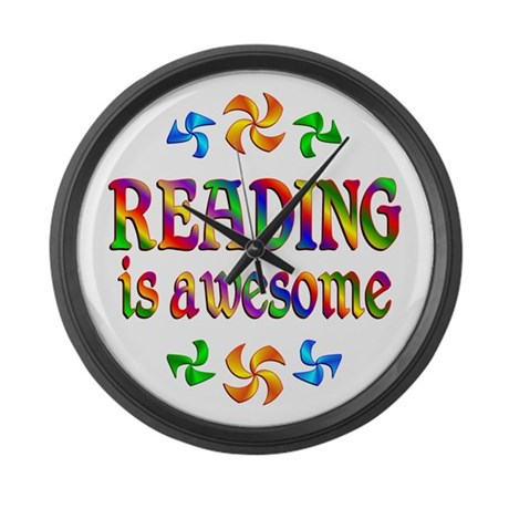 Reading is Awesome Large Wall Clock
