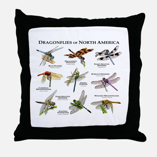 Dragonflies of North America Throw Pillow