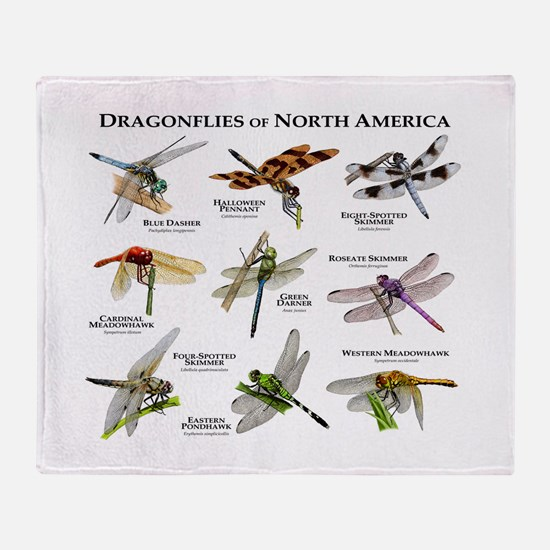 Dragonflies of North America Throw Blanket